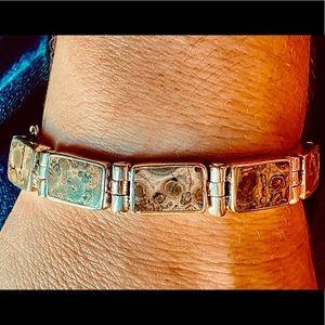 Vintage Leopard Skin Jasper .950 Silver Bracelet